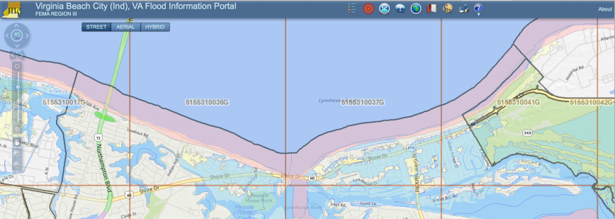 Screen grab of Virginia Beach Flood Information Portal map