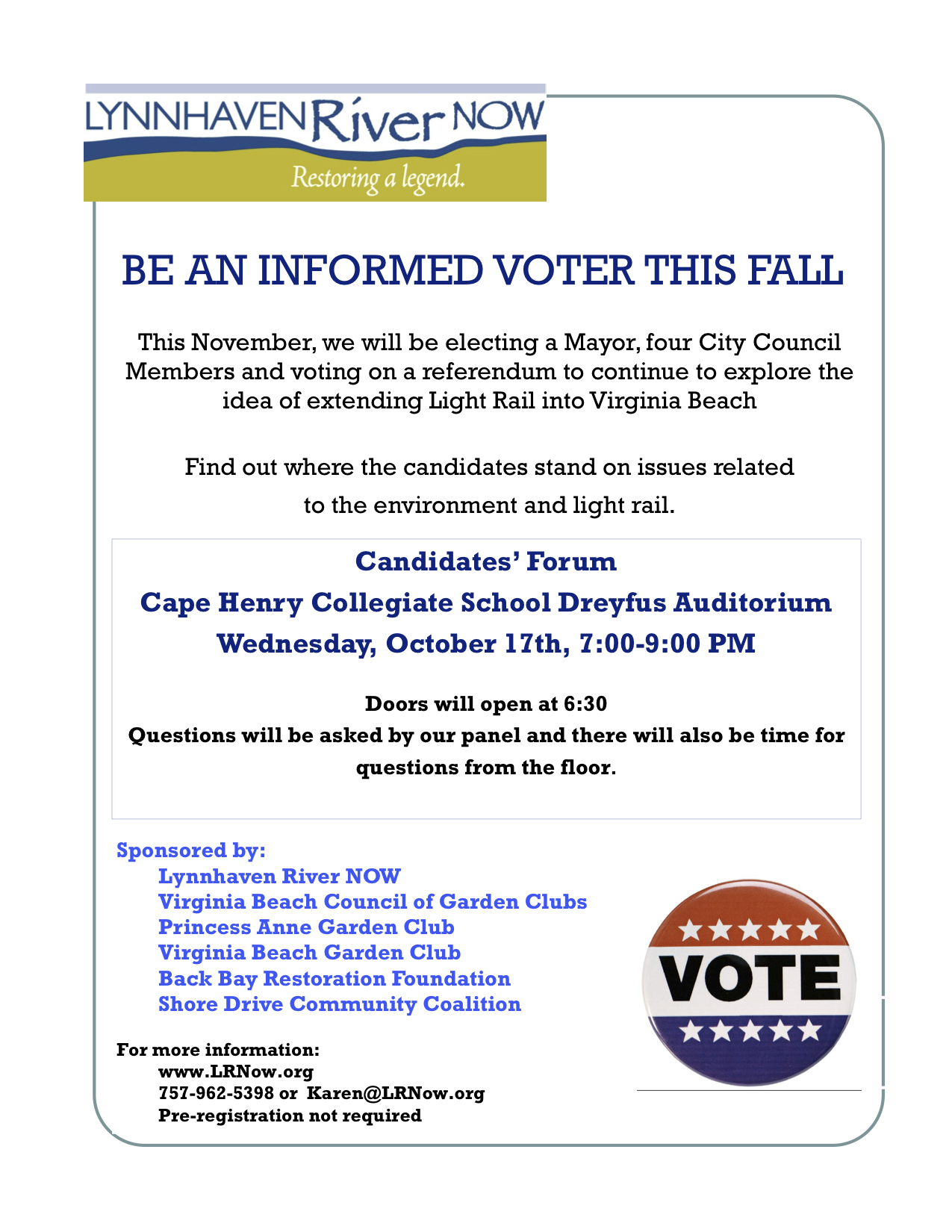 What: Virginia Beach Mayoral and City Council Candidates