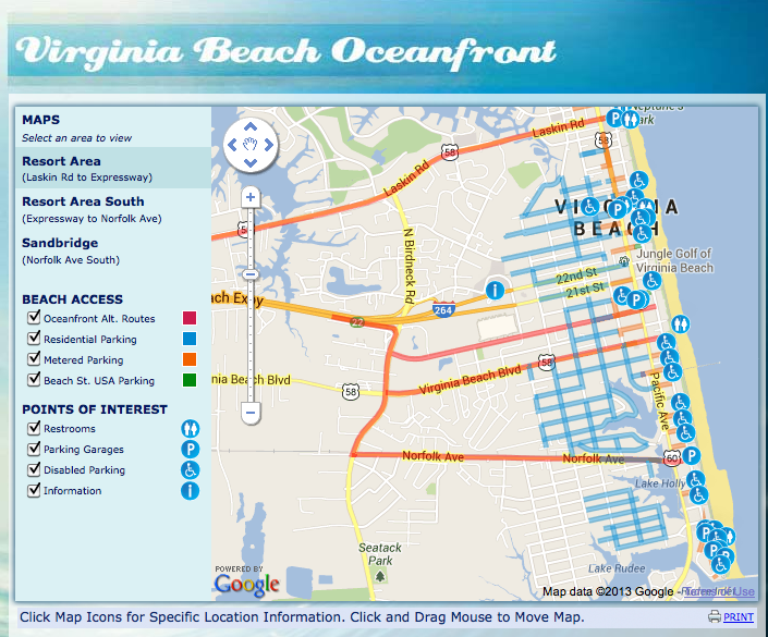 Screen shot of resort parking interactive map.