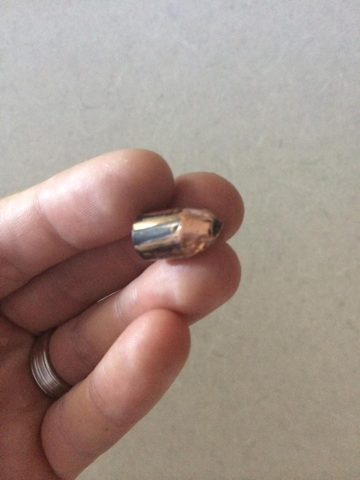 Bullet found on ground Saturday morning.