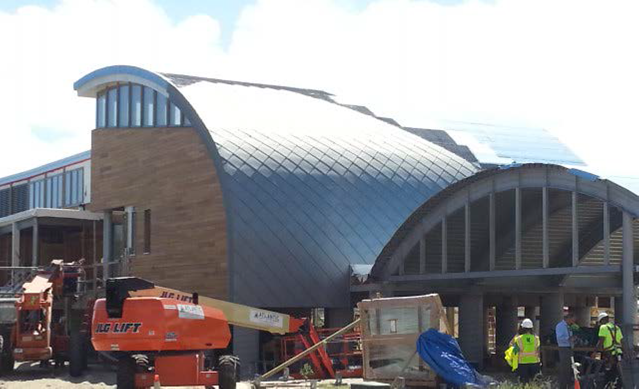 Zinc roof tiles being installed at CBF's Brock Environmental Center, thanks to Raise the Roof supporters!