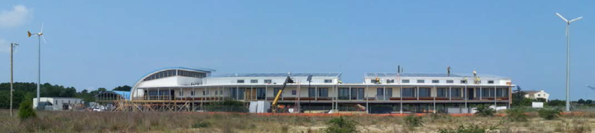 Southern view of CBF's Brock Environmental Center at Pleasure House Point, currently under construction.