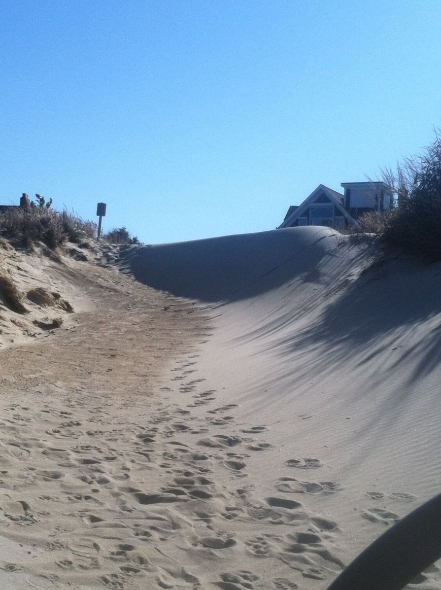 A wall of sand on the Jefferson-Raleigh Beach Path in Ocean Park. Photo swiped from Linda from OP Facebook Group page.