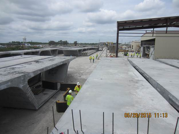 Pre-cast Concrete Segments for the New Lesner Bridge stored at Atlantic Metrocast in Portsmouth, VA