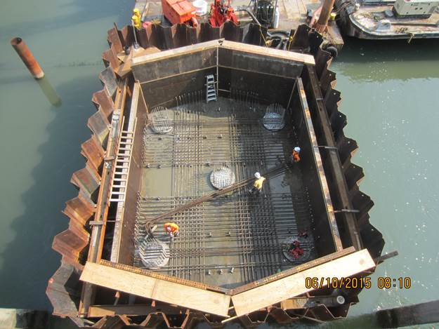 Placement of Reinforcing Steel for the concrete cap at Pier 3