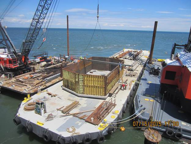 Seal Slab and Footing Formwork Being Assembled and Readied for Placement at Pier 4.