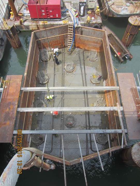 Reinforcing Steel Being Placed in the Footing at Pier 4