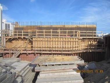 Backwall Reinforcing Steel and Formwork for Abutment B (Westbound Bridge)