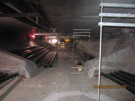Utility conduits being installed inside the westbound Lesner Bridge