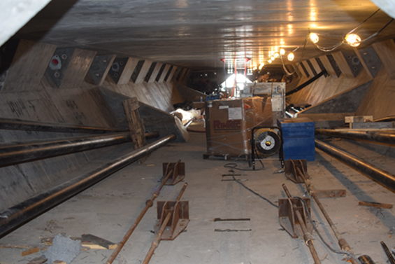 Internal Tendon Anchorages (top corner areas) inside Span4 of the new Westbound Lesner Bridge