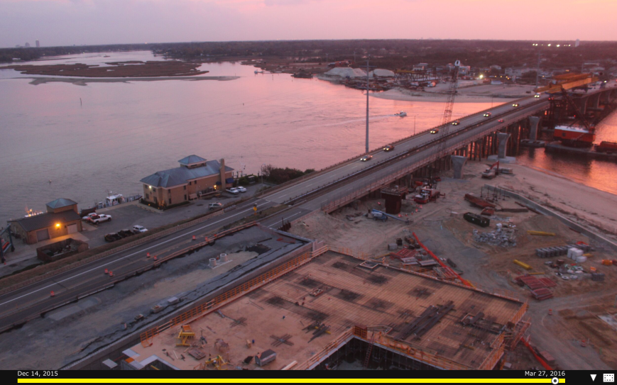 Screenshot of  Lesner Bridge Construction Camera just before amazing sunset Friday night. Click to go to Construction Cam.