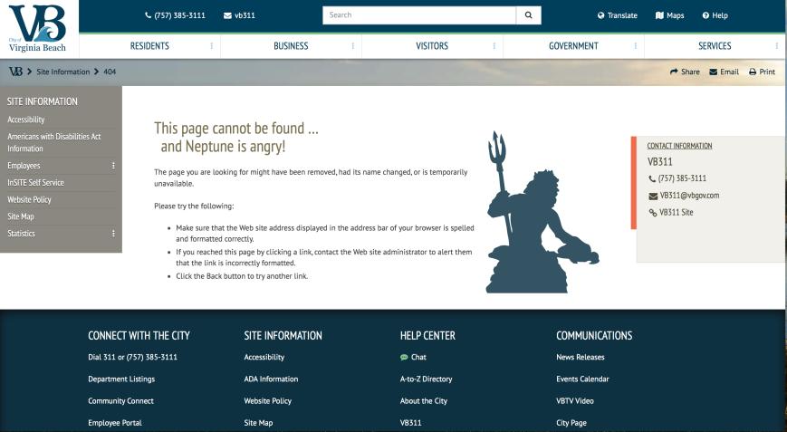 A screenshot of a 404 Error Message.