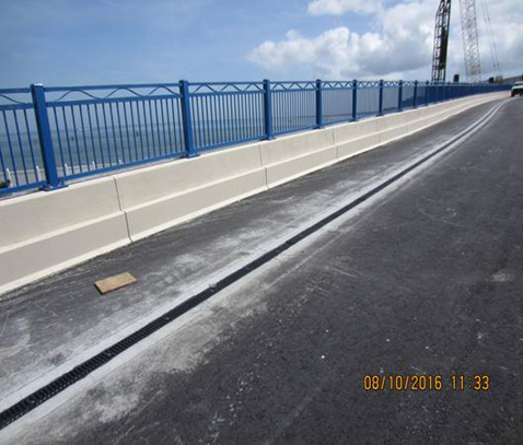Completed Handrail on top of parapet wall of new westbound Lesner Bridge