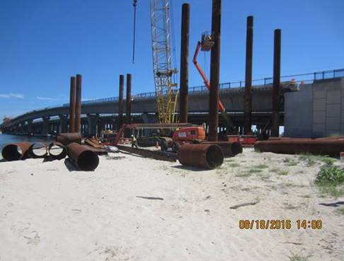 Temporary Steel Falsework being installed on the north side of the new westbound Lesner Bridge and west of Lynnhaven Inlet