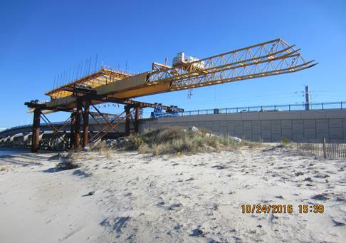 Temporary Steel Falsework and Gantry Storage area located on the north side of the new westbound Lesner Bridge and west of Lynnhaven Inlet